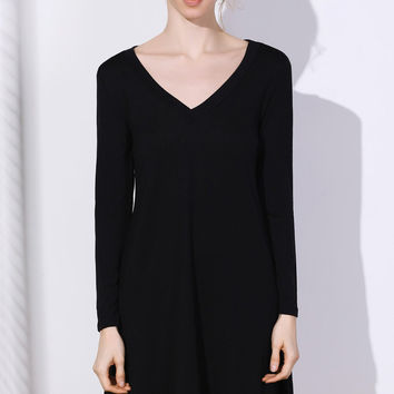 Simple Plunging Neck Long Sleeve Pure Color Dress