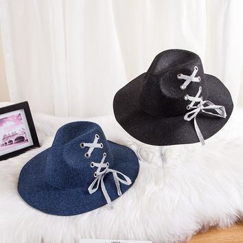 JIAX005 New Autumn Felt Fedoras Men Soft Wool Hats Winter Women Wide Brim Jazz Hats With Shoelace Decoration