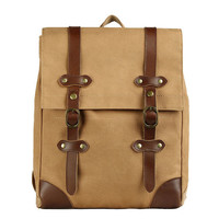 Retro Drawstring Double Hasp Square Canvas School Bag Outdoor Large Backpack