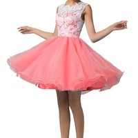 Grace Karin® Women's Pink Tulle Homecoming Dresses Lace Hollow-Out Bodice CL6123-3