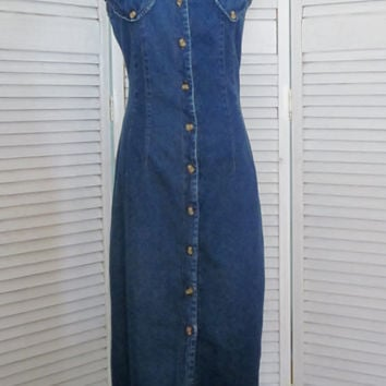 Vintage Denim Maxi Dress 90s Grunge Denim Dress Button Up Front Coverup Long Casual Sundress Womens Boho Hipster Dress Size 10