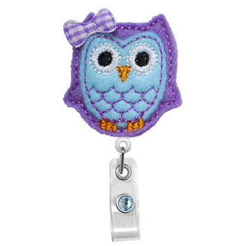 Cute Purple Blue Owl - Name Badge Holder - Nurses Badge Holder - Cute Badge Reels - Unique ID Badge Holder - Felt Badge - RN Badge Reel