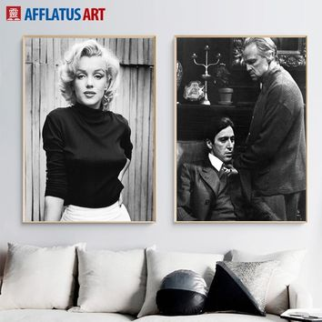 Marilyn Monroe Wall Art Canvas Painting Black White Posters And Prints Godfather Ali Wall Pictures For Living Room Home Decor
