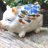 Vintage Piggy Bank Ceramic Hog Pig Mid-Century Decor