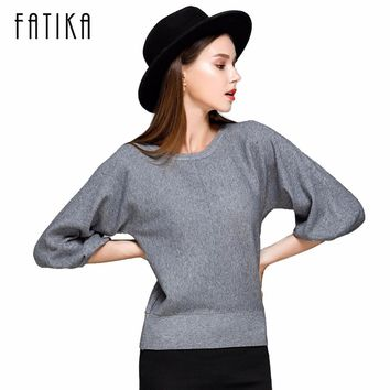 FATIKA 2017 New Fashion Women's Pullover Sweater Women O-neck Batwing Sleeve Wool Knitted Solid Color Thick Sweaters Loose Coat