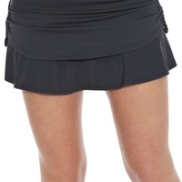 Pindot Rouched Tennis Skirt