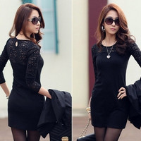 Women Bodycon Casual Sexy Long Sleeve Lace Dress with Patch Work = 1956545284