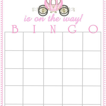 Princess Carriage Themed Baby Shower Bingo Cards