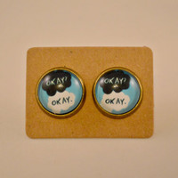 The Fault in Our Stars Antique Bronze Stud Earrings