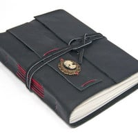 Black Leather Journal with Lolita Skull Cameo Bookmark