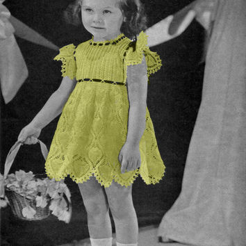 Toddler Girl's Dress Sizes 2,4 in Pineapple Crochet Pattern || Vintage 1940's || Reproduction PDF Instant Download Flower Girl 5260