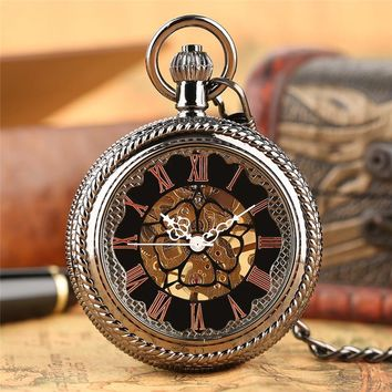 Steampunk Mechanical Pocket Watch Large Visible Crystal Cover Roman Numeral Fob Chain Retro Men Women Clock Best New Year Gifts