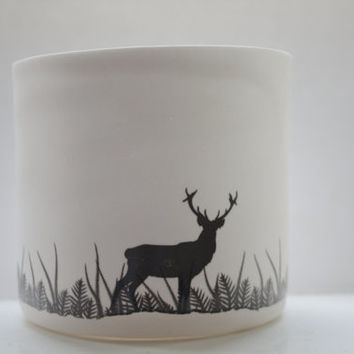 English fine white bone china vase or tea light holder in stoneware with a black silhouette of a stag.