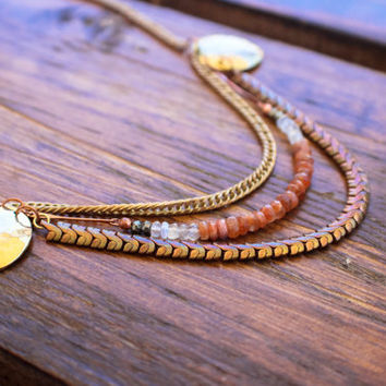 Eclipse Necklace / Vintage and Gemstone Necklace / Sunstone Moonstone Necklace