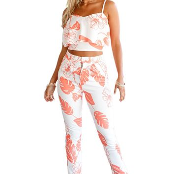 Chicloth Orange Mottled Print Frill Crop Top and Pant Set