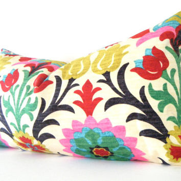 Long Pillow 14x28 Inch Bohemian Chic Decorative Designer Pillow Cover, Long Lumbar Pillow,Red Pink Dark Blue and Yellow
