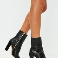 Missguided - Black Feature Heel Croc Ankle Boots