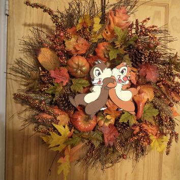 Chip N Dale / Autumn Harvest / Fall wreath