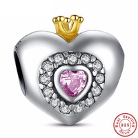 PRINCESS HEART Bead / Charm 925 Sterling Silver Authentic fit Pandora Bracelet