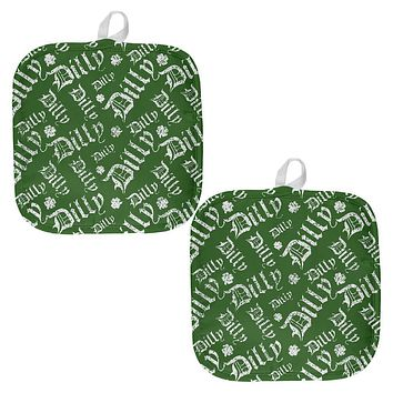 Dilly Dilly Old English Pattern All Over Pot Holder (Set of 2)