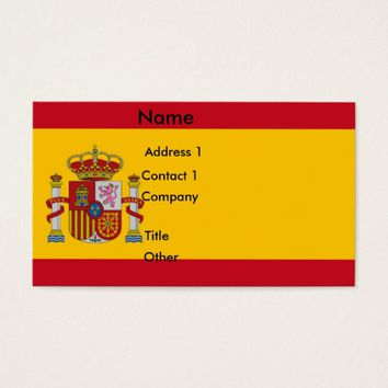 Business Card with Flag of Spain