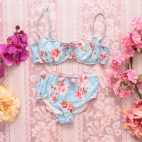 LUCY / Floral lycra lingerie set / Ready to ship