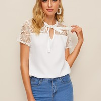 Tie Neck Guipure Lace Yoke Top