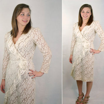 Vintage lace wrap dress David Morris bridal by vintagerunway