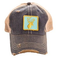 Judith March Gold Embroidered Deer Head Trucker Hat
