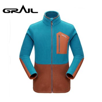 GRAIL Outdoor Polartec Fleece Basic Jacket Loose Zip Up Multi Pockets Warm Jacket Coat Stand Collar for Camping Hiking M5007A