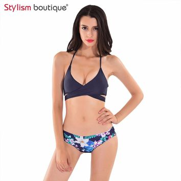 Sexy Criss Cross Bikini Brazilian 2017 Bandage Swimsuit Women Push Up Swimwear Bikinis Set Wrap Top Bathing Suits Swim Biquini