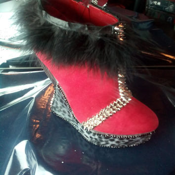 Custom Size 9  Red and Black Ankle Boot with Fur, Silver Spikes and Black and Grey Cheetah Print