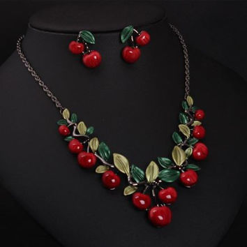 Exaggerated Fresh Cherry Necklace with Fresh Cherry Earrings