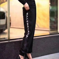 balenciaga women men fashion letter print pants 2