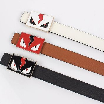 FENDI Hot Sale Women Men Personality Smooth Buckle Leather Belt