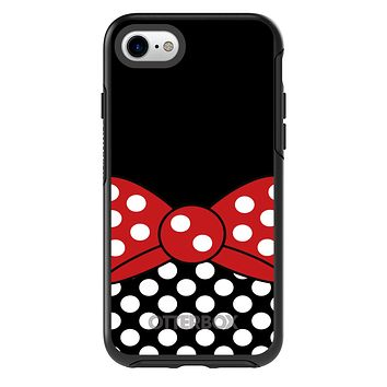 DistinctInk™ OtterBox Symmetry Series Case for Apple iPhone / Samsung Galaxy / Google Pixel - Black White Polka Dot Red Bow Minnie