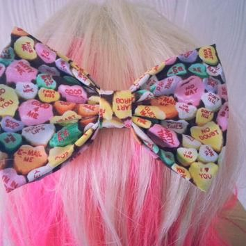 Hair Bow / conversation hearts hair bow / Valentines day hair bow / Heart hair clip /