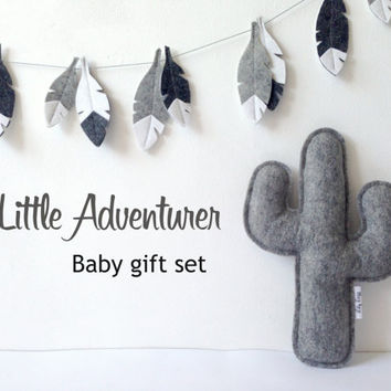 Best baby shower gift: Adventure Baby Gift set, Cactus pillow and feather garland, Monochrome nursery, Baby decor, Neutral Gender Nursery