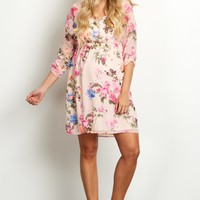 Light-Pink-Floral-Chiffon-3/4-Sleeve-Maternity-Dress