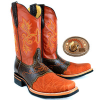 Mens King Exotic Elephant Boots Square Toe With Saddle Vamp Cognac