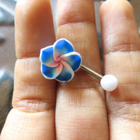 Hawaiian Flower Plumeria Belly Button Ring Navel Stud Jewelry Bar Barbell Piercing Blue