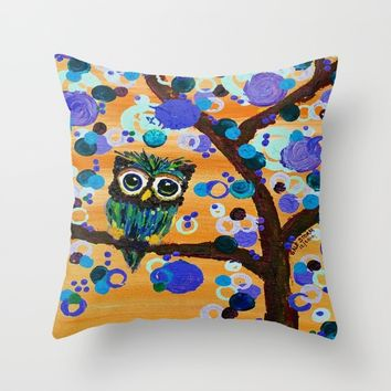:: Sunset Gemmy Owl :: Throw Pillow by :: GaleStorm Artworks ::