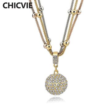 CHICVIE Women Gold color Ball Long Necklaces Statement Crystal Pendant Necklaces Love Gifts Ethnic Jewelry Bijoux Sne140451