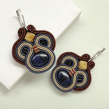 Brown and Blue Earrings Brown Earrings Chandelier Earrings Soutache Earrings Earthy Earrings Boho Earrings Blue Chandelier Earrings