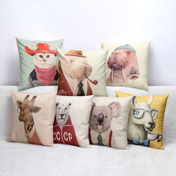 European Vintage Printed Pillow Case Mr Animals Cushion Cotton linen Cover Square 45X45CM