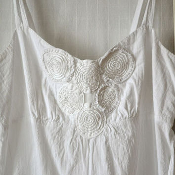 white summer dress, upcycled clothing, lace vintage, lace crochet, cotton dress, cottage chic, shabby chic