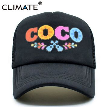 Trendy Winter Jacket CLIMATE Men Women Summer Trucker Cap Moive COCO Mesh Caps Remember Me Guitar Mexico Mexican Day of the Dead Cool Net Caps Hat AT_92_12