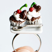 Chocolate Cupcake Ring, Fimo, Polymer Clay, Christmas Ring
