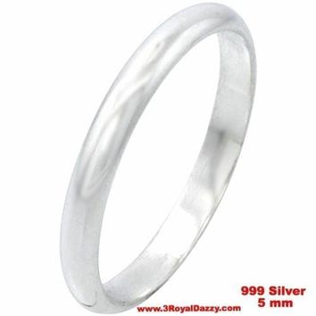 Handmade solid 999 Silver polished glossy plain wedding Ring Band 5 mm Size 14