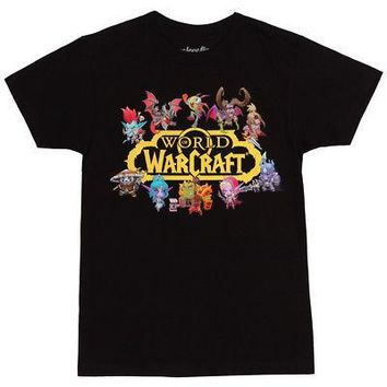 World Of Warcraft Characters w/ Logo Licensed Adult Unisex T-Shirt - Black